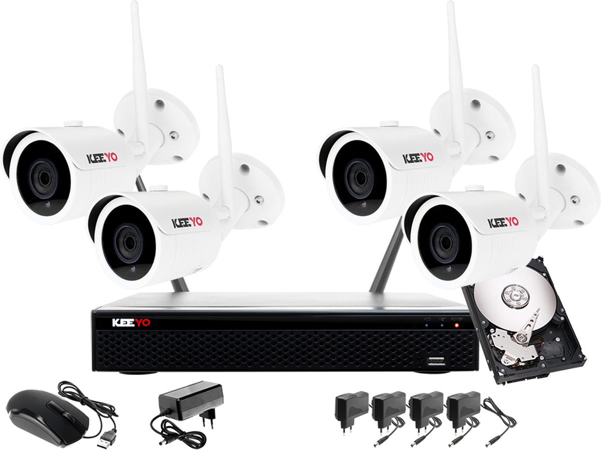 bbb89038161f6c Monitoring bezprzewodowy wifi zestaw IP: Rejestrator 4 kanałowy IP WiFi +  4x Kamera IP WiFi + Dysk 1TB + Akcesoria