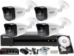 Komplet monitoringu IP sieciowy do firmy, biura, hurtowni Hikvision Hiwatch Rejestrator IP HWN-4104MH + 4x Kamera FullHD HWI-B120H-M + Akcesoria