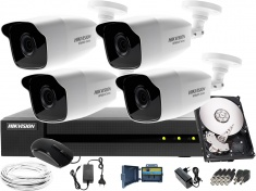 Monitoring zestaw 4 kamery do firmy, magazynu Hikvision Hiwatch HWD-7108MH-G2, 4 x HWT-B240, 1TB, Akcesoria