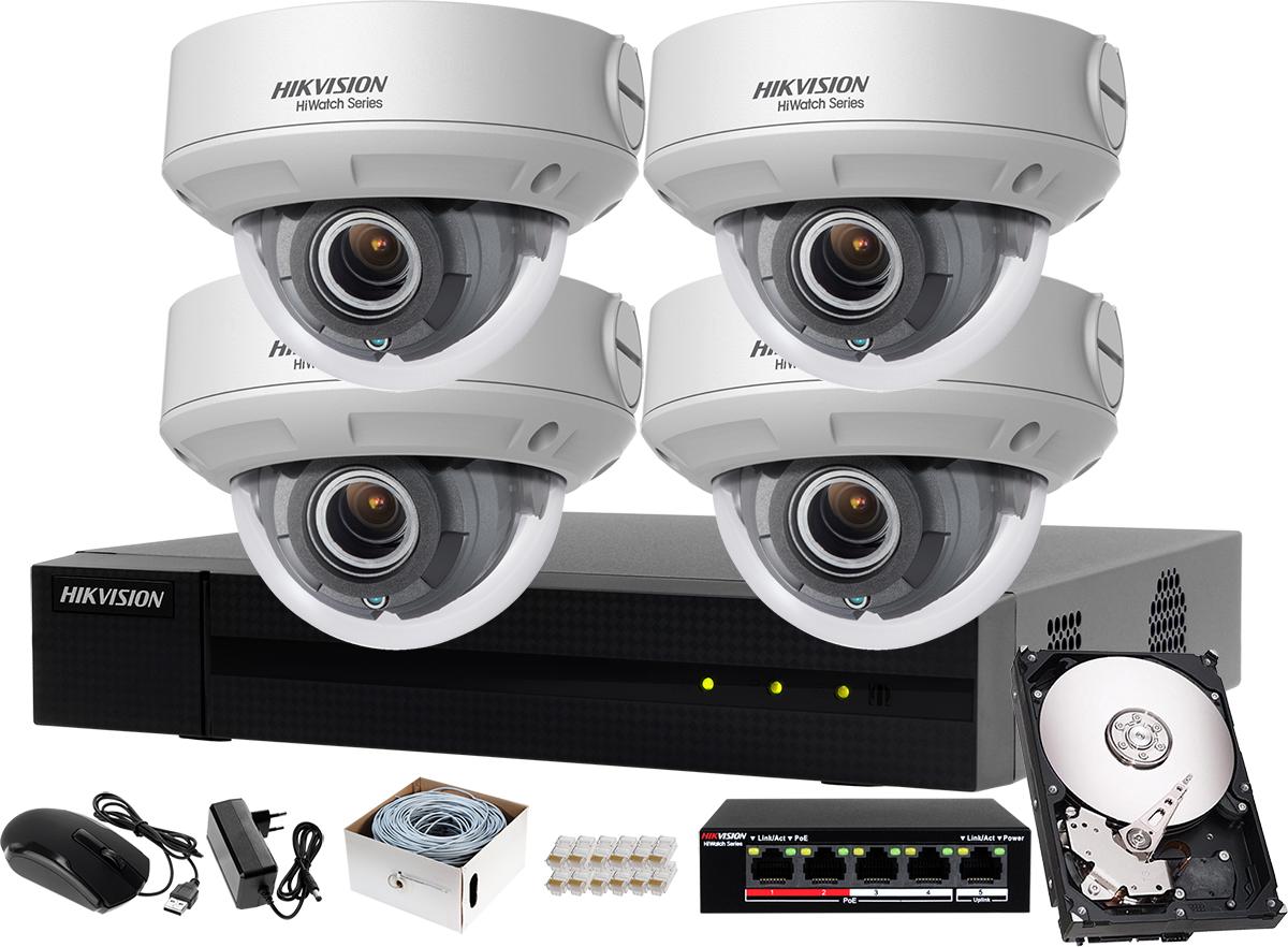 f5813f74373809 Zestaw do monitoringu firmy, hurtowni, hali Hikvision Hiwatch Rejestrator  IP HWN-4104MH + 4x Kamera FullHD HWI-D640H-V + Akcesoria