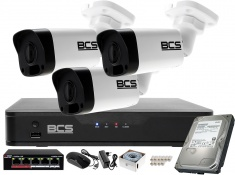 Zestaw monitoringu BCS Point Rejestrator IP + 3x Kamera 4MP + Akcesoria