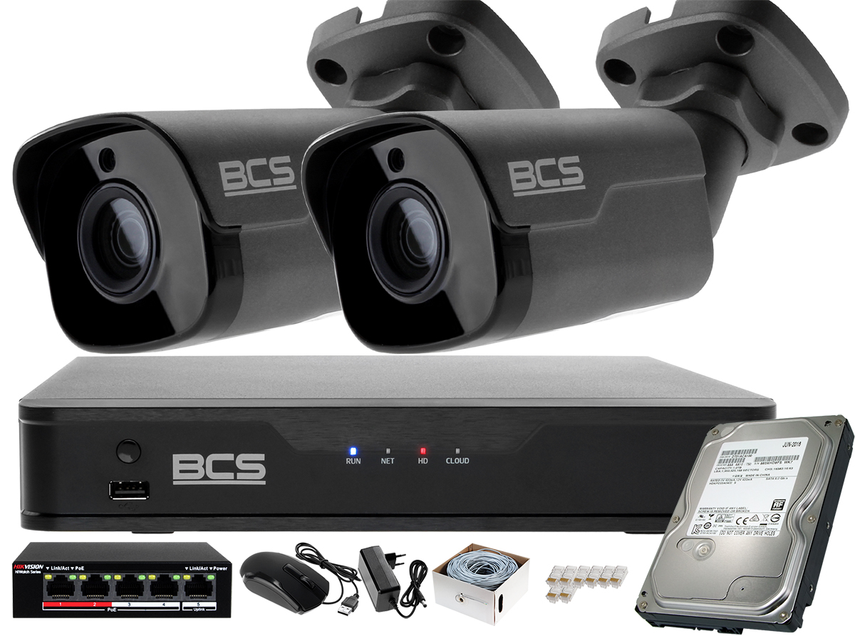 Zestaw monitoringu BCS Point Rejestrator IP BCS-P-NVR0401-4K-E + 2x Kamera 5MP BCS-P-415RWM-G starlight