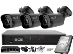 Zestaw monitoringu BCS Point Rejestrator IP + 3x Kamera 5MP BCS-P-415RWM-G starlight