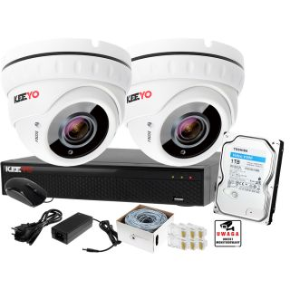 Keeyo Zestaw do monitoringu 5MPx H265+ IR 40m zoom 2.8-12mm 2 x Kamera kulista 1TB